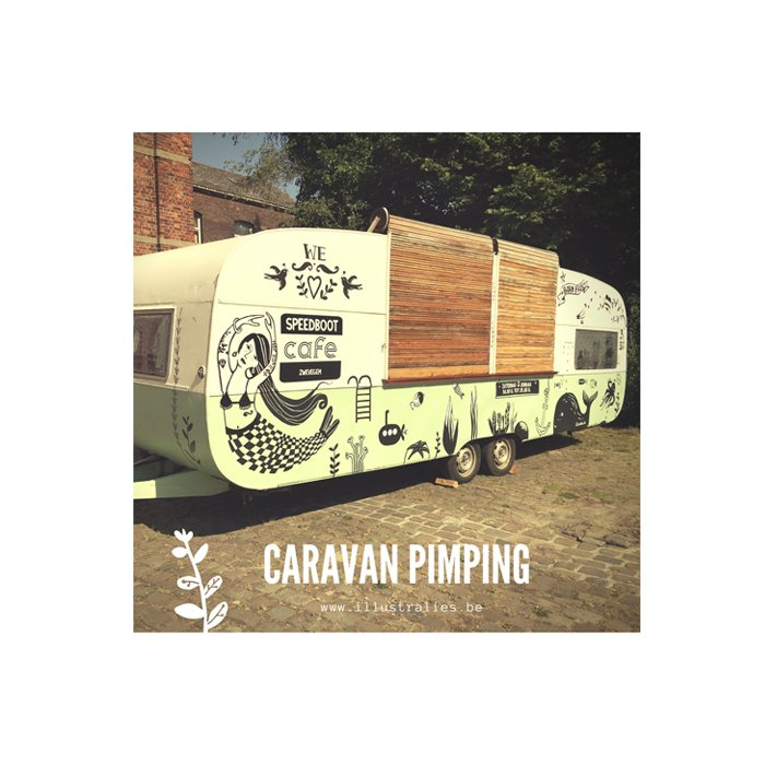Caravan tekening illustra'lies