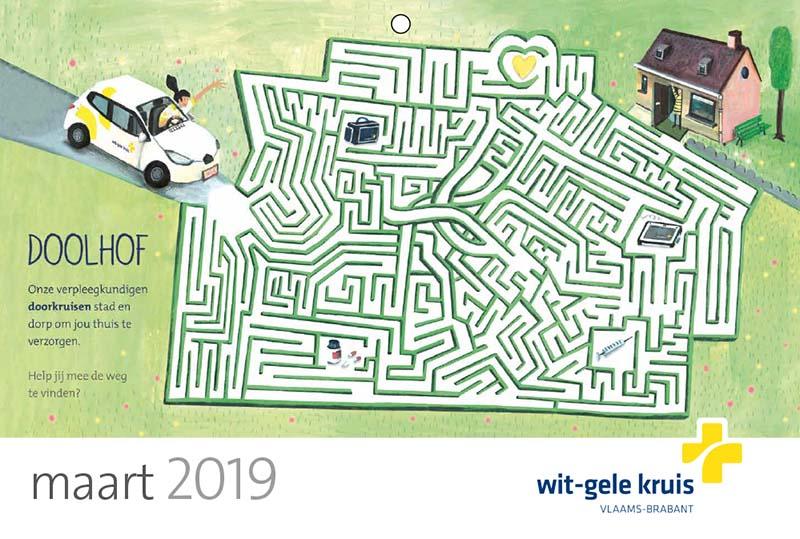 illustraties op maat kalender wit gele kruis - doolhof- illustra'lies