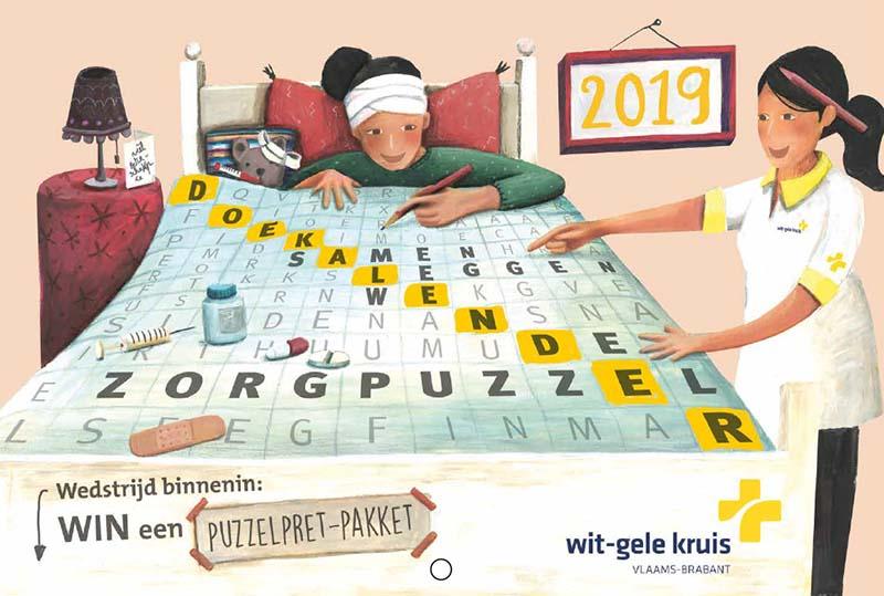 illustraties op maat kalender wit gele kruis - illustra'lies