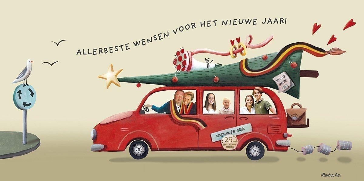 illustratie op maat nieuwjaarskaart Claude Croes - burgemeester Deerlijk - illustra'lies