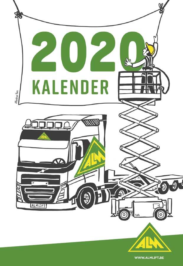 illustratie op maat voor kalender ALM-lift cover - illustra'lies