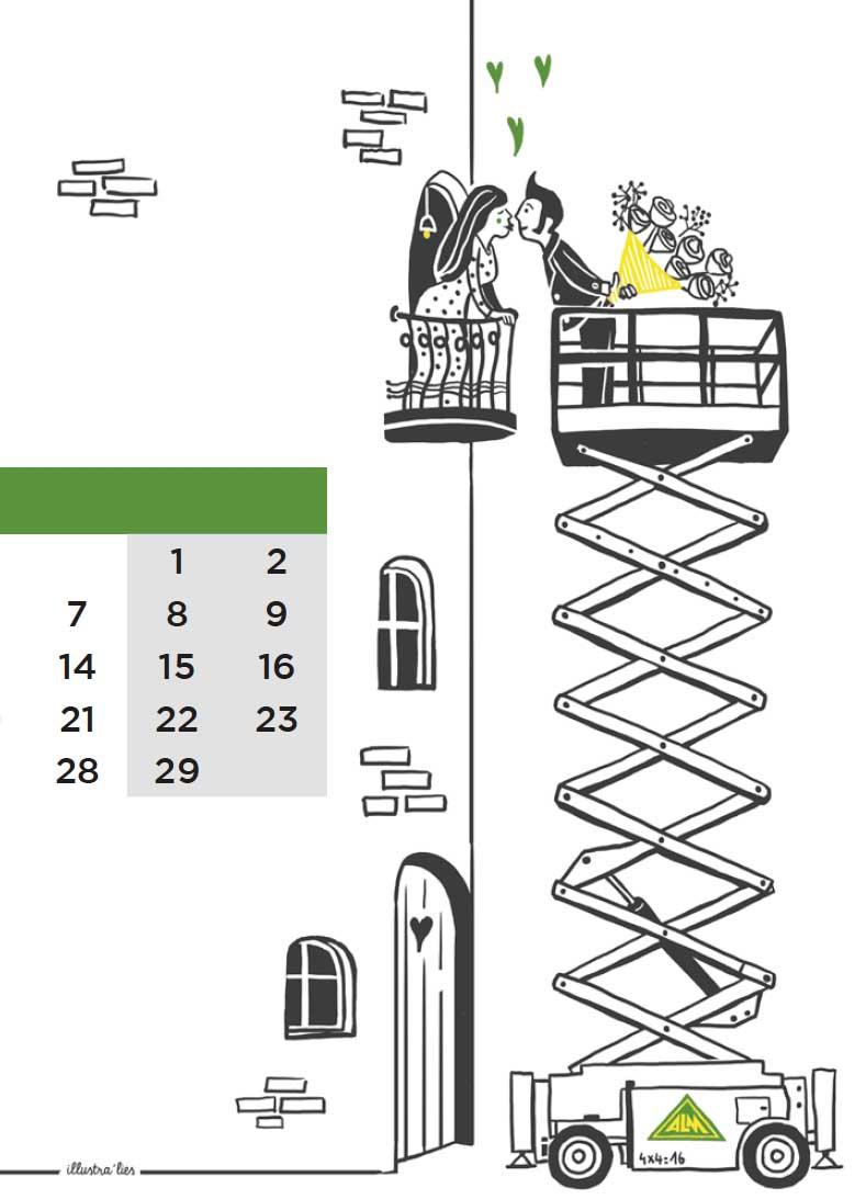 illustratie op maat voor kalender ALM-lift valentijn - illustra'lies