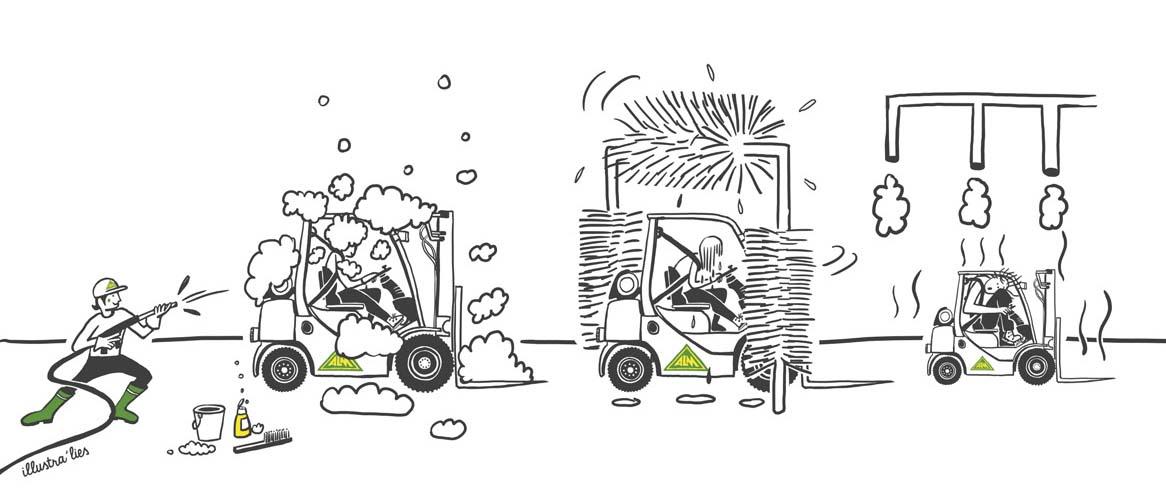 illustratie op maat voor kalender ALM-lift lenteschoonmaak - illustra'lies