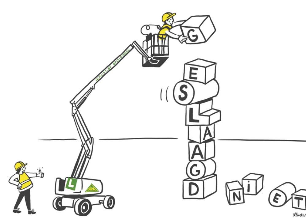 illustratie op maat voor kalender ALM-lift opleidingen - illustra'lies
