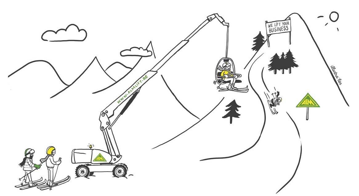 illustratie op maat met cartoons voor kalender ALM-lift - illustra'lies
