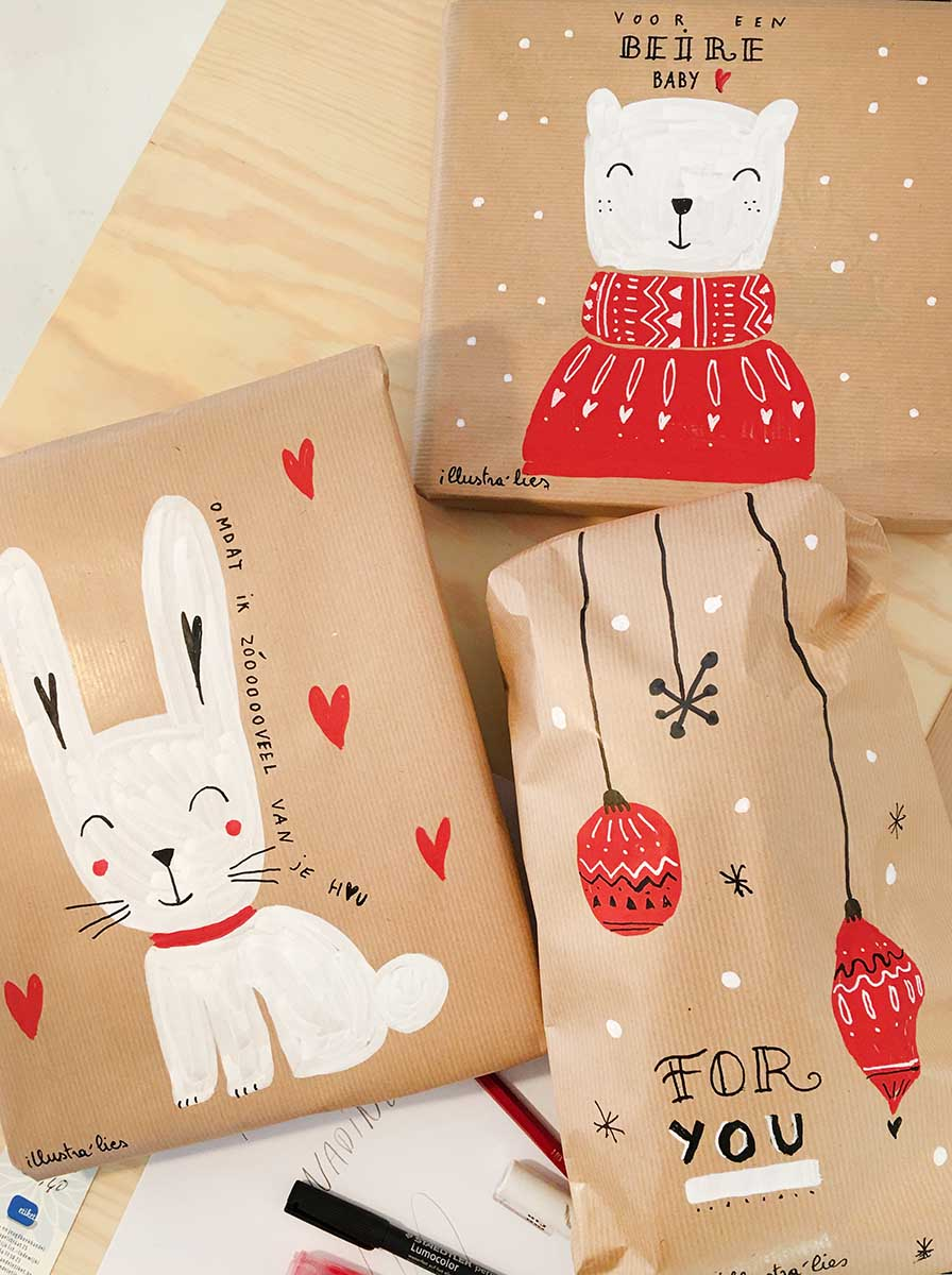 kerst pakjes pimpen met illustratie op maat - illustra'lies