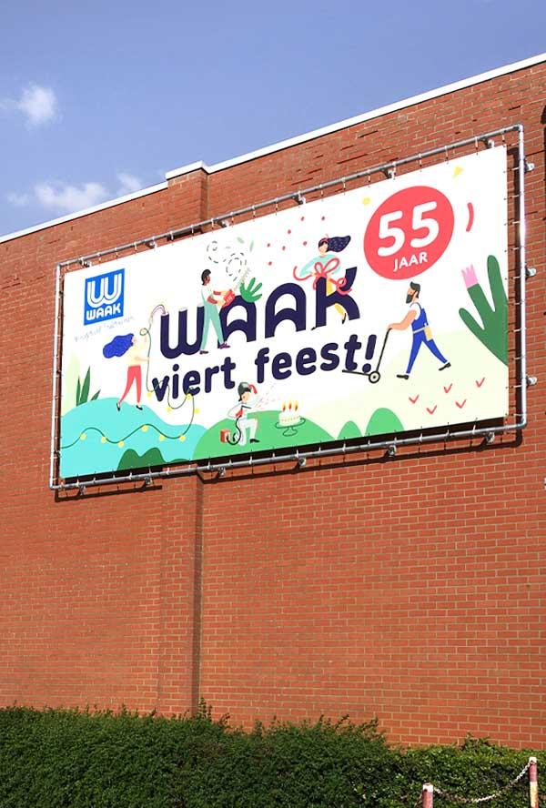 illustratie Waak viert feest - gevelbanner - illustra'lies