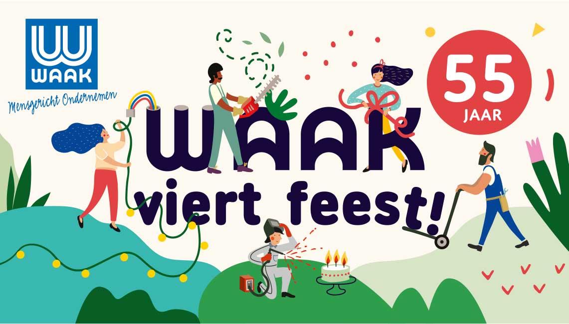 illustratie campagnebeeld Waak viert feest - illustra'lies