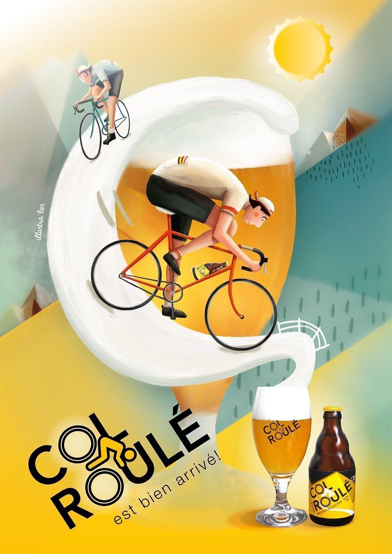 illustratie op maat voor affiche bier Col Roulé - illustra'lies