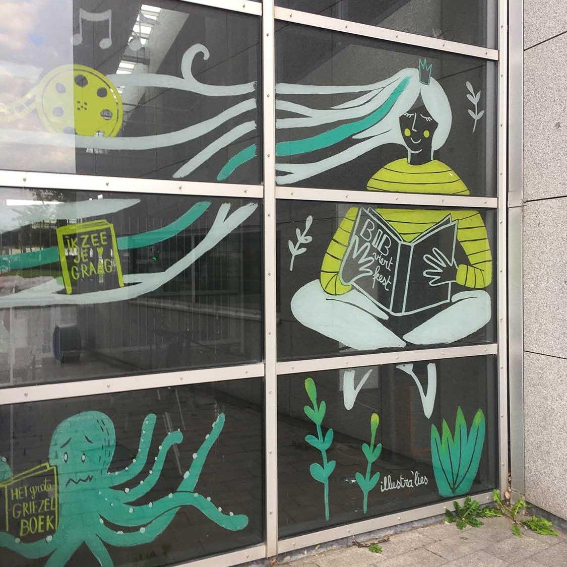 raamtekening bibliotheek Oostende viert 20 jaar feest - illustra'lies