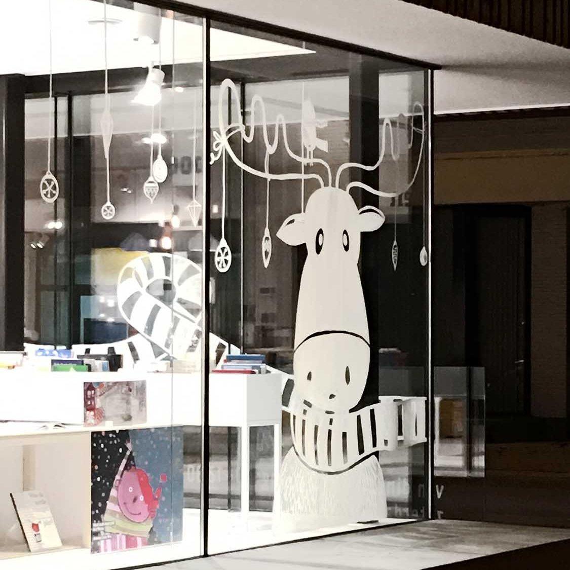 kerst raamtekening boekhandel Etiket Deerlijk - illustra'lies
