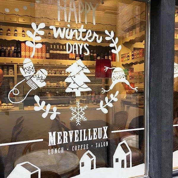 raamtekening kerst Merveilleux Brugge