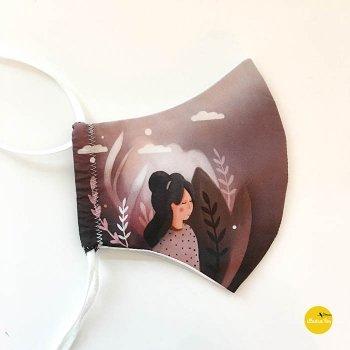 foto mondmasker met illustratie girl - illustra'lies