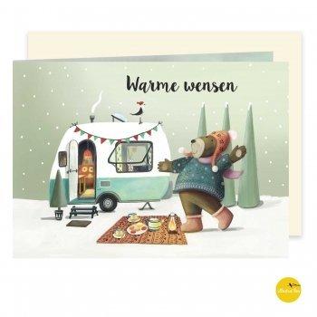 kerstkaart met illustratie beer caravan - illustra'lies