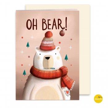 kerstkaart met illustratie oh bear - illustra'lies