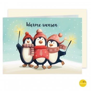 kerstkaart met illustratie pinguïns fun - illustra'lies