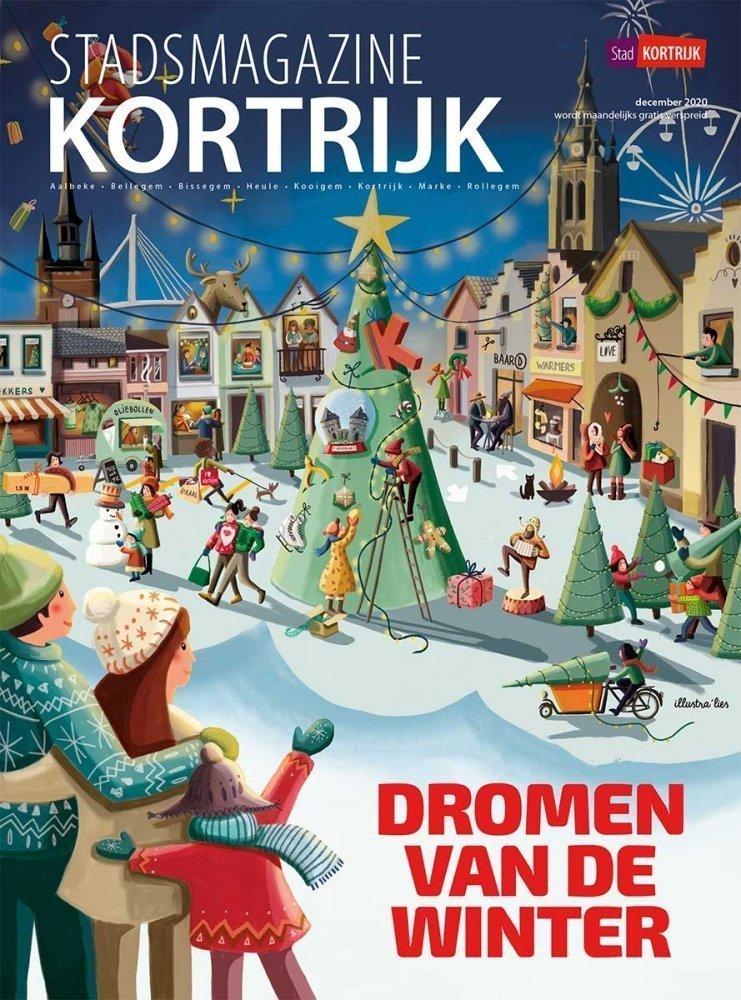cover stadsmagazine Kortrijk voor Winter in Kortrijk illustratie - illustra'lies