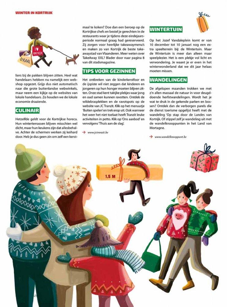 binnenpagina stadsmagazine Kortrijk voor Winter in Kortrijk illustratie - illustra'lies