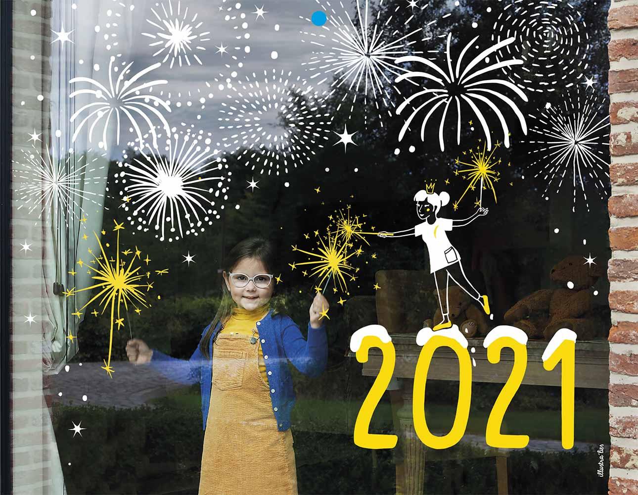 raamtekening illustraties voor kalender voor Wit-Gele kruis - vuurwerk cover 2021 - illustra'lies
