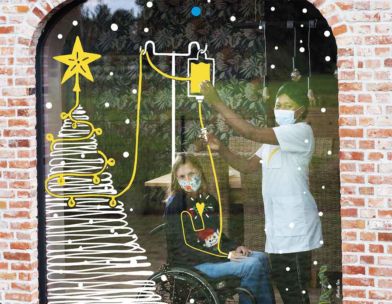 raamtekening illustraties voor kalender voor Wit-Gele kruis - kerstboom verpleegkundige en transfusie - illustra'lies