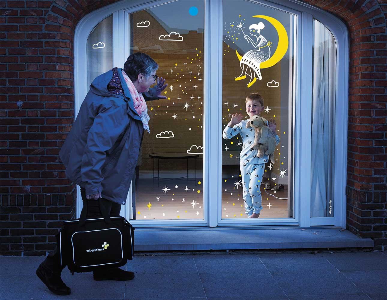 raamtekening illustraties voor kalender voor Wit-Gele kruis - goede nacht - illustra'lies