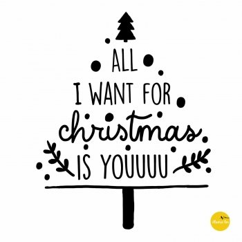 afbeelding illustratie raamtekensjabloon kerstboom All I want for Xmas is you - illustra'lies