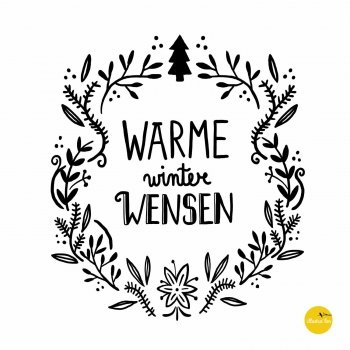 afbeelding illustratie raamtekensjabloon kerstkrans warme winterwensen - illustra'lies