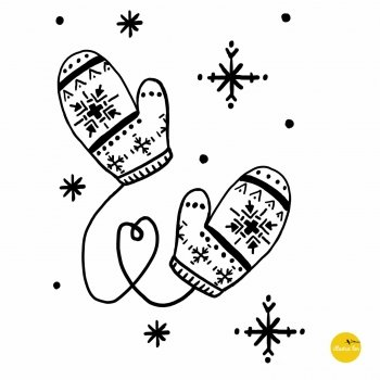 afbeelding raamtekensjabloon winter handschoenen illustratie - illustra'lies