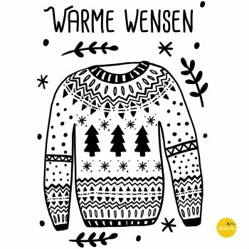 afbeelding raamtekensjabloon Warme wensen illustratie wintertrui - illustra'lies