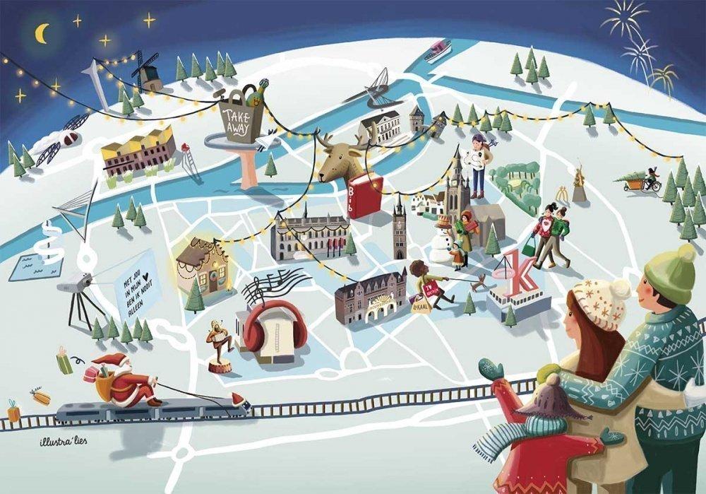 illustratie stadsplan en pretparkkaart voor Winter in Kortrijk - illustra'lies