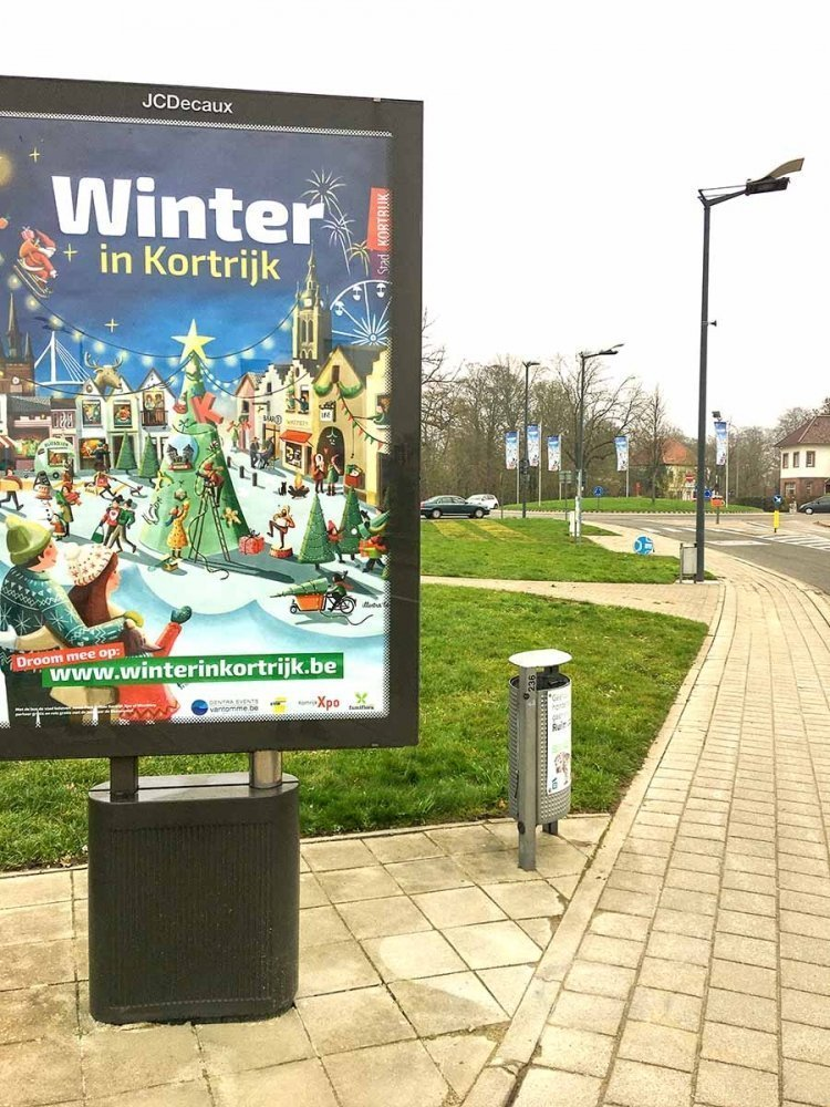 affiche baanaffiche stadsmagazine Kortrijk voor Winter in Kortrijk illustratie - illustra'lies