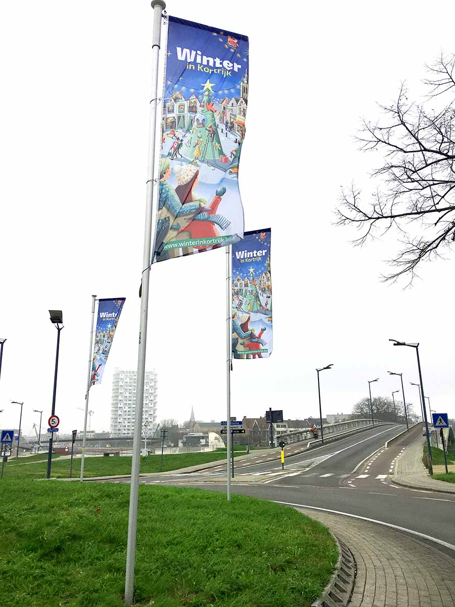 Vlaggen Winter in Kortrijk campagnebeeld illustratie - illustra'lies