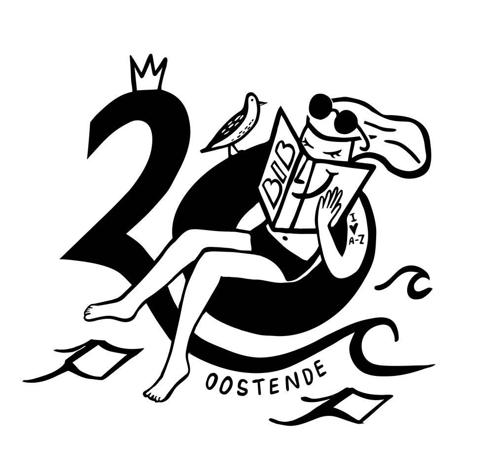logo illustratie voor 20 jaar feest bibliotheek in Oostende - illustra'lies