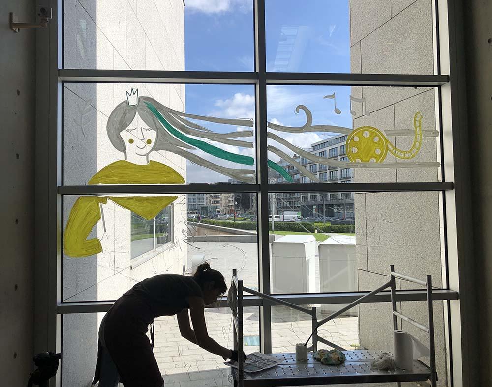 making of - raamtekening voor 20 jaar feest bibliotheek in Oostende - illustra'lies