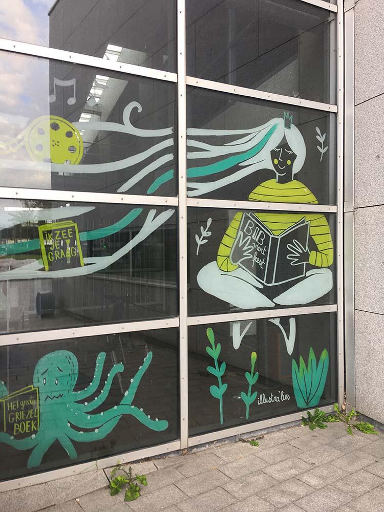 raamtekening voor 20 jaar feest bibliotheek in Oostende - illustra'lies