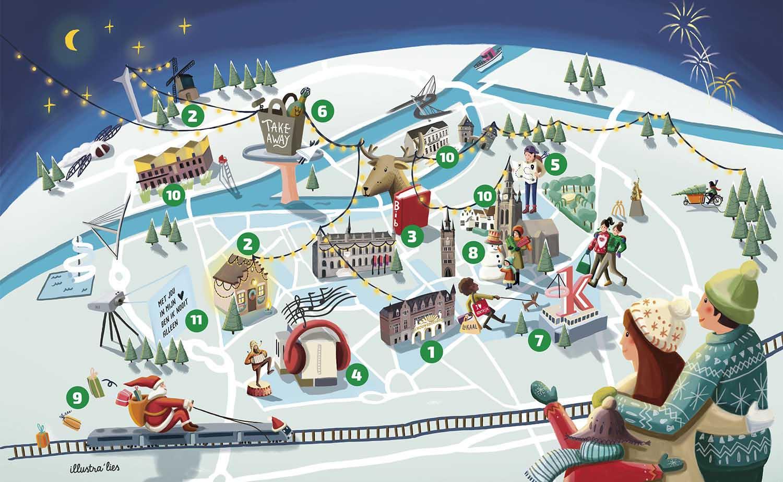 Winter in Kortrijk geïllustreerde pretparkkaart van Kortrijk - illustra'lies