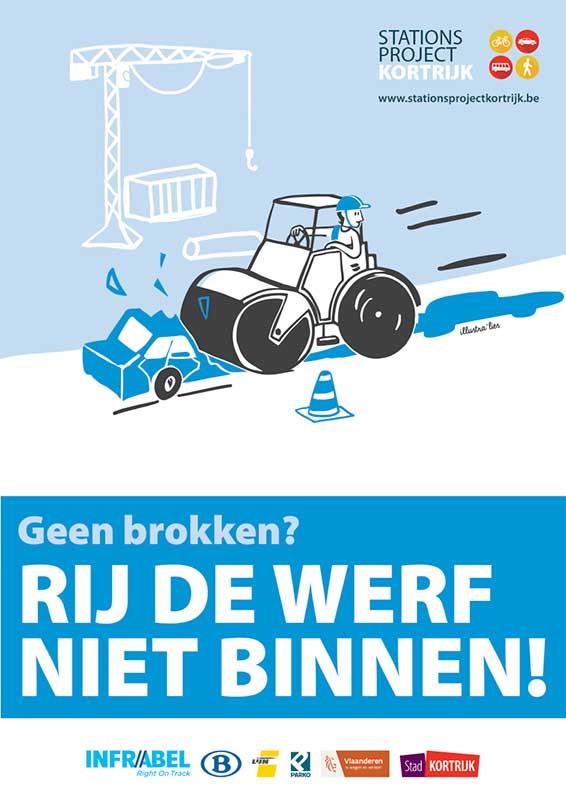 cartoons veiligheid op het stationsproject Kortrijk - illustra'lies