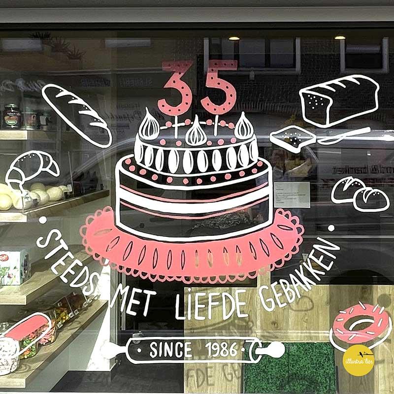 raamtekening bij bakkerij Vitse voor verjaardag 35 jaar