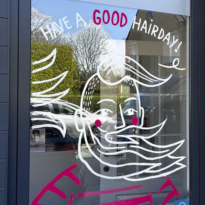 raamtekening voor kapsalon Het salon in Pittem door illustralies
