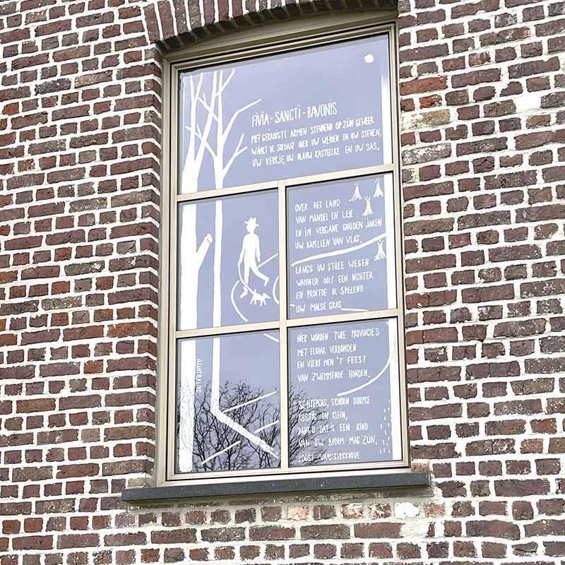 raamtekening gedicht in Den Aert in Wielsbeke door illustralies