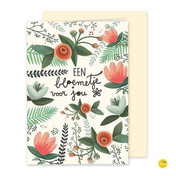 wenskaart een bloemetje voor jou illustra'lies