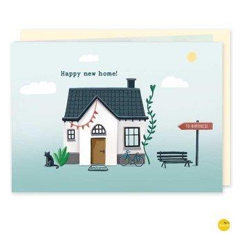 wenskaart happy new home verhuisd illustra'lies