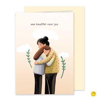 wenskaart knuffel voor jou illustra'lies