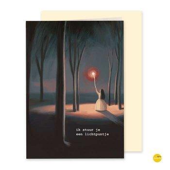 wenskaart rouw en verdriet lichtpuntje illustra'lies
