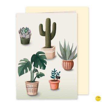 wenskaart vetplantjes cactussen illustra'lies